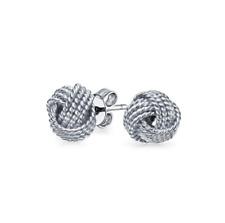 Sterling Silver Jewelry Italian Design Diamond Cut Wire Love Knot Stud Earring