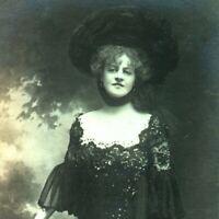 Miss Marie Studholme RPPC postcard antique actress portrait black lace dress