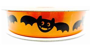 "Halloween Bat Ribbon,Orange,Black Bats,polyester,5/8""x 3 yards"