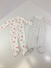 CHILDREN'S PLACE INFANT GIRLS 2-PACK FOOTED ONE PIECE PINK/WHITE 3-6M NWT