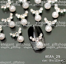 Alloy Jewelry Nail Art Decoration (9x12)mm White Pearl Glitter Rhinestones#EAh29