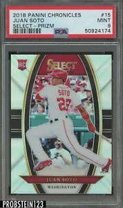 2018 Panini Chronicles Select Silver Prizm Juan Soto Nationals RC Rookie PSA 9