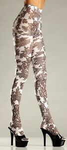 BW682 new NWT sexy BE WICKED opaque FLORAL flower PRINT nylons TIGHTS pantyhose