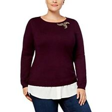 Charter Club Womens Sweater 2x Purple Plum Rhinestone Accent Layered Plus Size