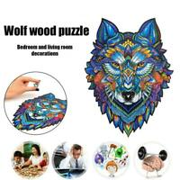 Wolf Pattern Wooden Puzzles Jigsaw For Kids Learning Education Toy