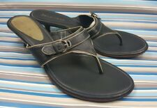 COLE HAAN MULES SLIP ON SLIDE BLACK LEATHER WOMEN' THONG SANDALS SHOES 8 B