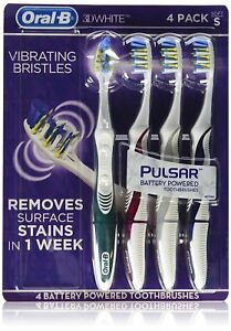 Oral-B Pulsar Vibrating Bristles Toothbrush, Soft, 4 Pack (Colors May Vary)