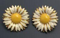 Vintage  large daisy Flower clip on earrings enamel on gold tone metal
