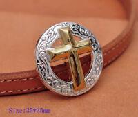 "5X 1-3/8"" Western Shiny Silver Gold Cross Engraved Leathercraft Saddles Conchos"