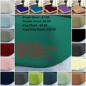 """NON IRON EXTRA DEEP 16""""/40CM PERCALE FITTED SHEETS SINGLE DOUBLE KING S KING"""