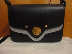Coccinelle Clessidra Hourglass Lock Eggplant Box Purple Leather Shoulder Bag