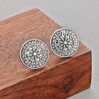Vegvisir Runes Compass Stud Earrings Charm Scandinavian Slavic Viking Jewelry