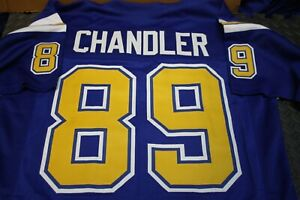 WES CHANDLER #89 SEWN STITCHED HOME CUSTOM JERSEY SIZE XL ROYAL BLUE