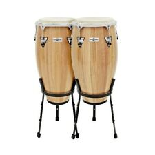 More details for conga drums 11.75'' + 12.5'' set with stands by gear4music