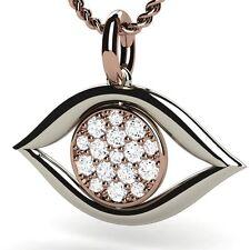 Diamond Vs Clarity Rose & White Gold 18K Evil Eye Pendant Gold Chain included