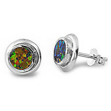 Green Fire Opal Stud Solid .925 Sterling Silver Earrings