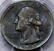 1957 Washington Quarter PCGS MS-66... B - Reverse, Ice Blue Toned, Superb Coin!!