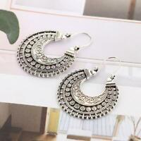 Fashion Hoop Earrings Ethnic Tribal Aztec Hippy-Dangle Silver-Tibetan
