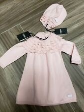 fa1309db4d6d7 Color  Pink. NEW Fendi baby Girls soft pink knit ruffles dress and hat set  3m