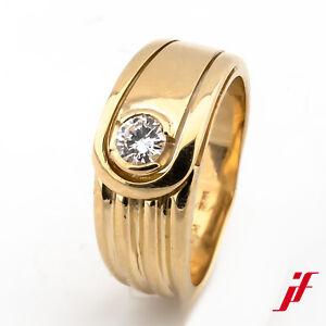 Ring Solitärring 750/18K Gelbgold Diamant Brillant Größe 51