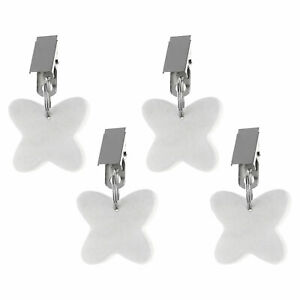 4 Butterfly Tablecloth Weights Hangers Stone Table Cloth Weights w/Steel Clips