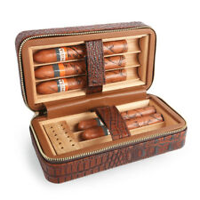 Portable Leather Cigar Travel Cedar Wood Lined Humidor with Humidifier & Tray