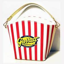 GLAMOROUS RED WHITE STRIPE POP CORN BUCKET SHAPE PURSE CASE  SHOULDER BAG