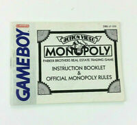 Monopoly Action Video Nintendo Game Boy Instruction Manual Book Only Parker Bros