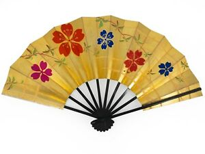 Vintage Japanese Geisha Odori 'Maiogi' FoldingDanceFan Gold & Silver: May20-B