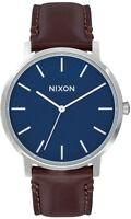 Nixon Porter 40 Leder Herren Armbanduhr marineblau/braun