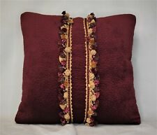 burgundy textured velvet decorative throw pillow with fringe for sofa or couch