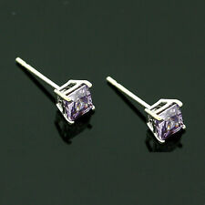9ct White Gold 4mm  Amethyst C/Z Square Stud Earrings Hand  MADE IN UK
