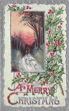 Merry Christmas 1913 Embossed Postcrd Silver Holly Shepherd John Winsch Design
