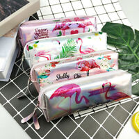 IG_ HD_ Cartoon Flamingo Pen Pencil Case Laser Zipper Cosmetic Bag Stationery Po