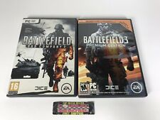 Battlefield 3 Premium Edition + Battlefield Bad Company 2 PC Video Game Lot Nice