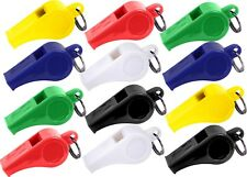 12 Assorted Colorful Plastic Referee Sports Safety Whistle