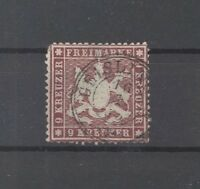 Württemberg Mi.Nr. 19yb, 9 Kreuzer Freimarke 1861 gestempelt, gp BPP (24305)