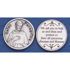 """Saint Peregrine Patron Saint of Cancer Coin Prayer Token NEW 1.25"""" Made in Italy"""
