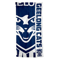 Geelong Cats AFL Printed 75cm x 150cm Cotton Velour Beach Towel New