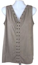French Laundry Woman's Size L Keyhole Cream Sleeveless Blouse Top