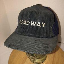 new style 95241 4811f VTG 80s ROADWAY Transportation USA Black Purple Corduroy Trucker Hat Cap  Snapbac