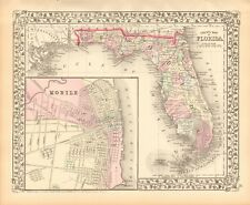 1874 ANTIQUE MAP - USA - FLORIDA, PLAN OF MOBILE