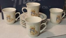 Tienshan Stoneware Country Bear Tea / Coffee Cups with Saucers