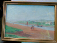 Antique Oil Painting Harbor Boats Beach Seashore People Fishing Boston MA