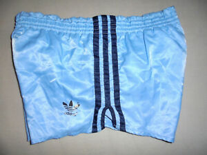 vintage german 70`s Adidas Sprinter Nylon shorts glanz 70er oldschool blau D5 M
