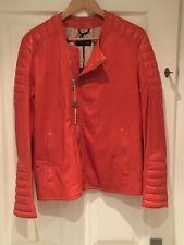 Patrizia Pepe Womens Orange Leather Biker Jacket