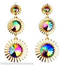 PURPLE BLUE GREEN RIVOLI RHINESTONE Gold Chandelier Dangle Drop Floral Earrings