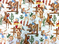 AH261 Sexy Pin Up Cowgirls From The Hip Rodeo Western Boots Cotton Quilt Fabric