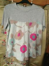 LOVELY GREY/FLORAL TUNIC TOP, SIZE 14, by PAPAYA, MINT GREEN FLORAL BOTTOM.. VGC