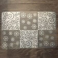 ❤️ (4) Snowflake Swirl Holiday Christmas Clear White Plastic Placemats Set